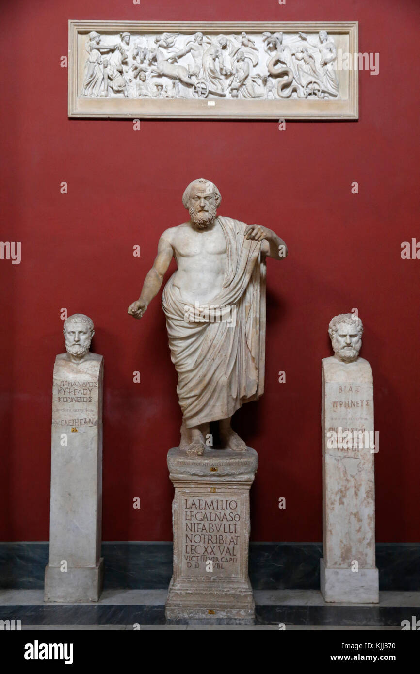 Vatican museums, Rome. Pio Clementino museum. Male statue, so-called Lykourgos or Lysias. Italy. - Stock Image