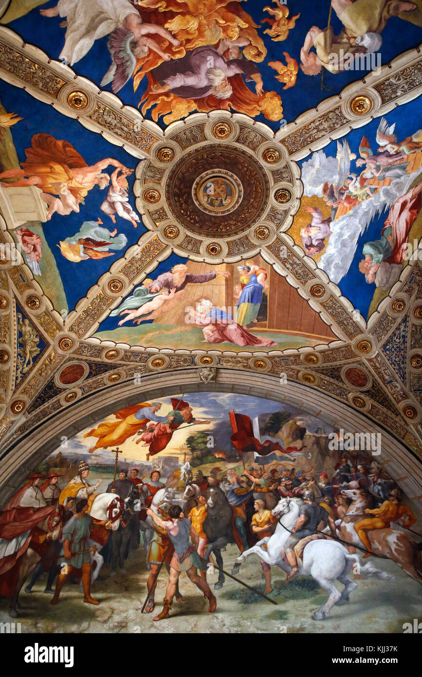 Vatican museums, Rome. Raphael's rooms. The meeting of Leo the Great and Attila. Italy. - Stock Image