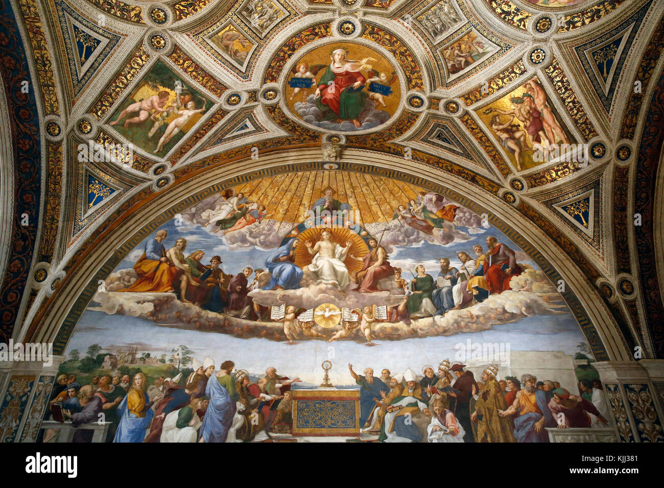 Vatican museums, Rome. Raphael's rooms. Disputation of the Holy Sacrament.  Italy. - Stock Image