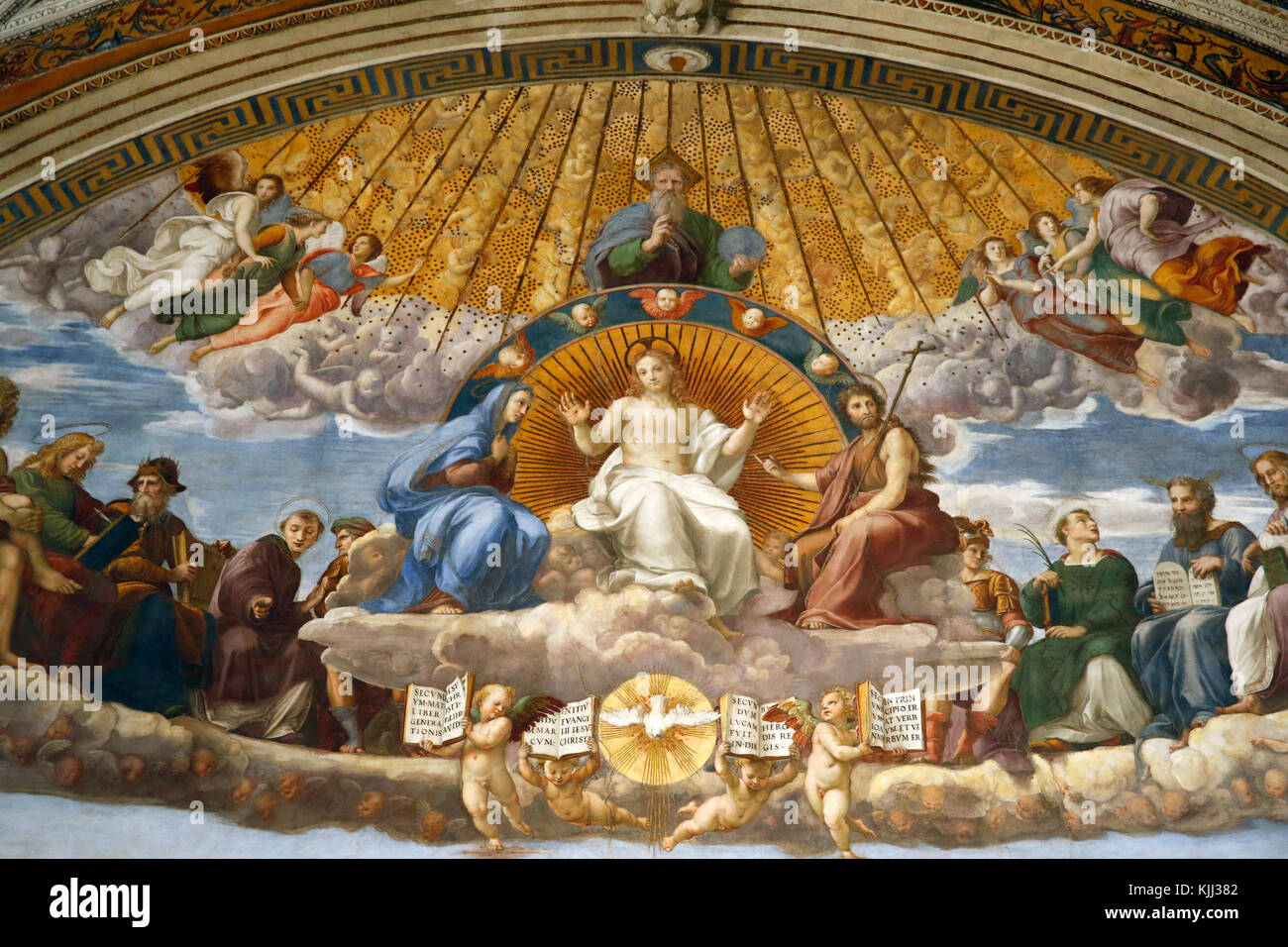 Vatican museums, Rome. Raphael's rooms. Disputation of the Holy Sacrament. Detail. Italy. - Stock Image