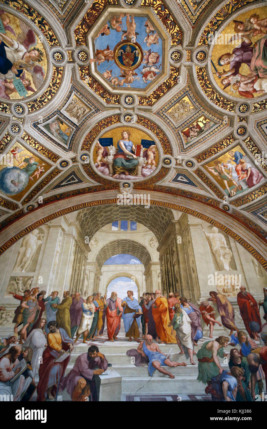 Vatican museums, Rome. Raphael's rooms.  The school of Athens. Italy. - Stock Image