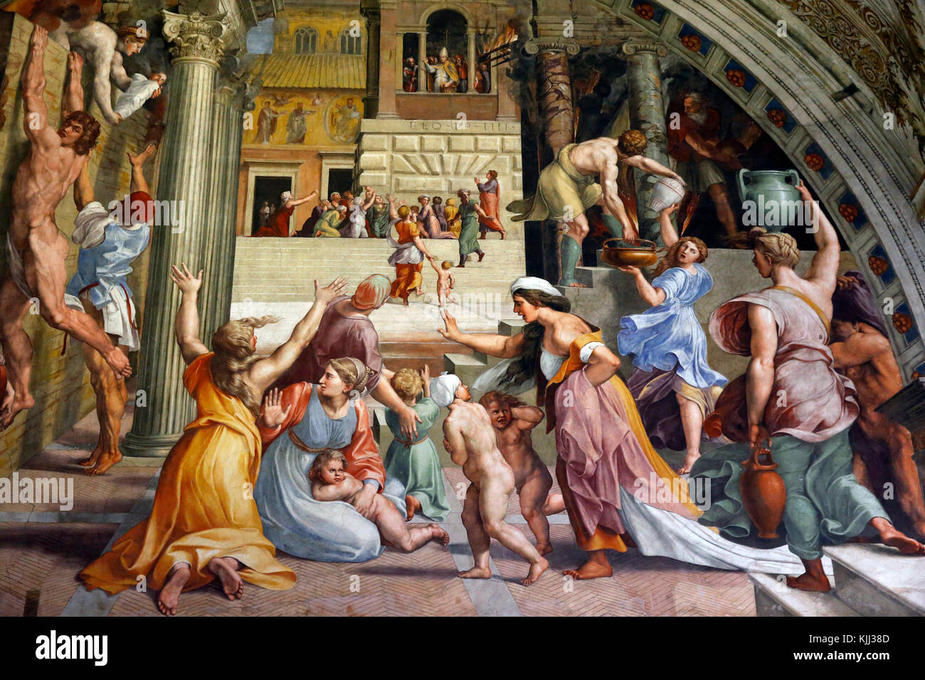Vatican museums, Rome. Raphael's rooms. Fire in the Borgo. Italy. - Stock Image