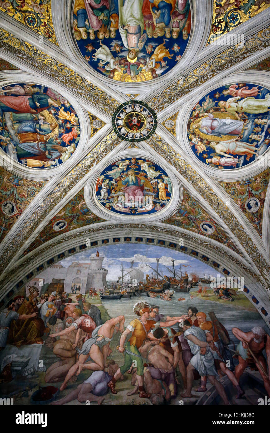 Vatican museums, Rome. Raphael's rooms. The battle of Ostia. Italy. - Stock Image