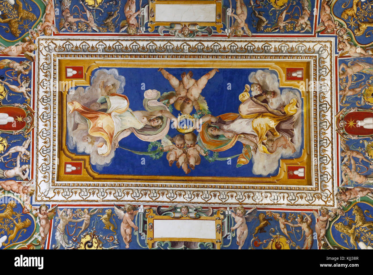 Vatican museums, Rome. Ceiling fresco. Italy. - Stock Image
