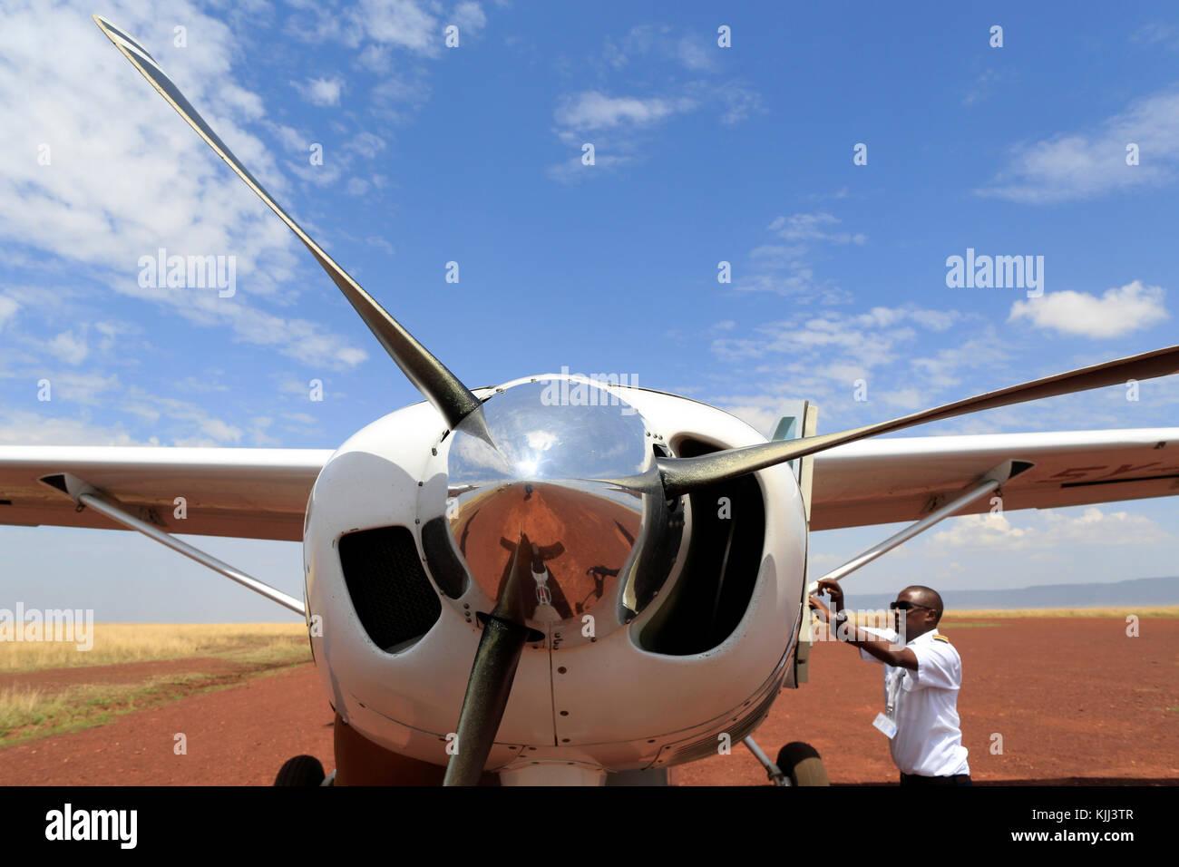Mara serena air trip. Masai Mara game reserve. Kenya. - Stock Image