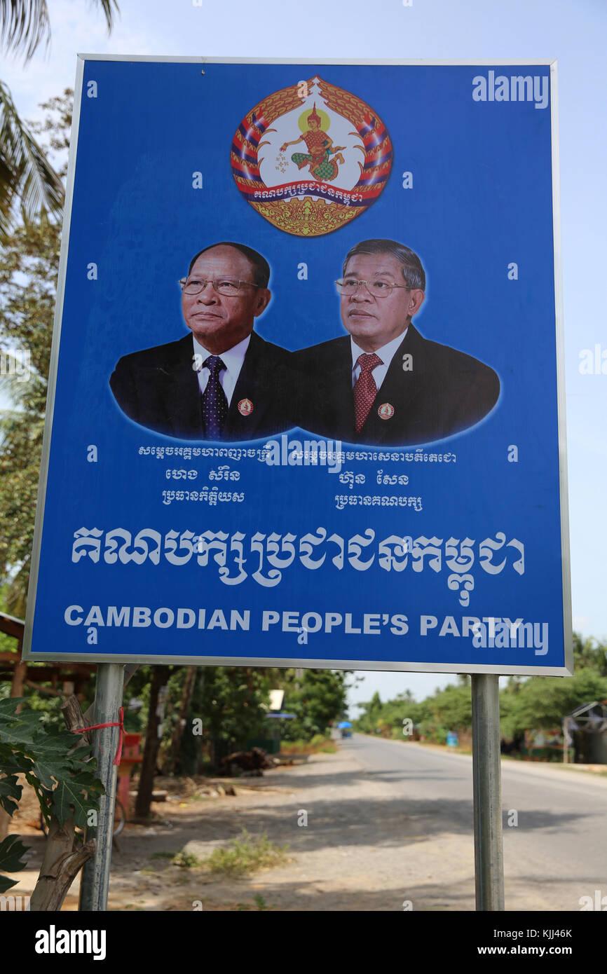 Political propaganda in Battambang province. Cambodia. - Stock Image
