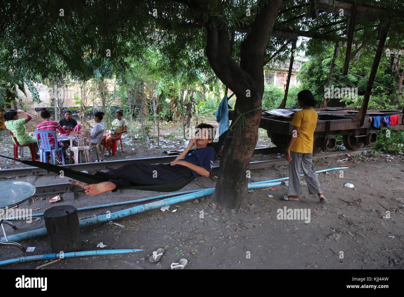Slum dwellers. Battambang.  Cambodia. - Stock Image