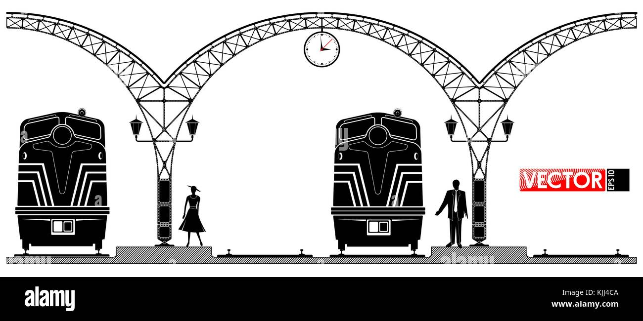 An ancient arched metal building of the railway station. People and locomotives on the platform. Black profile. - Stock Vector
