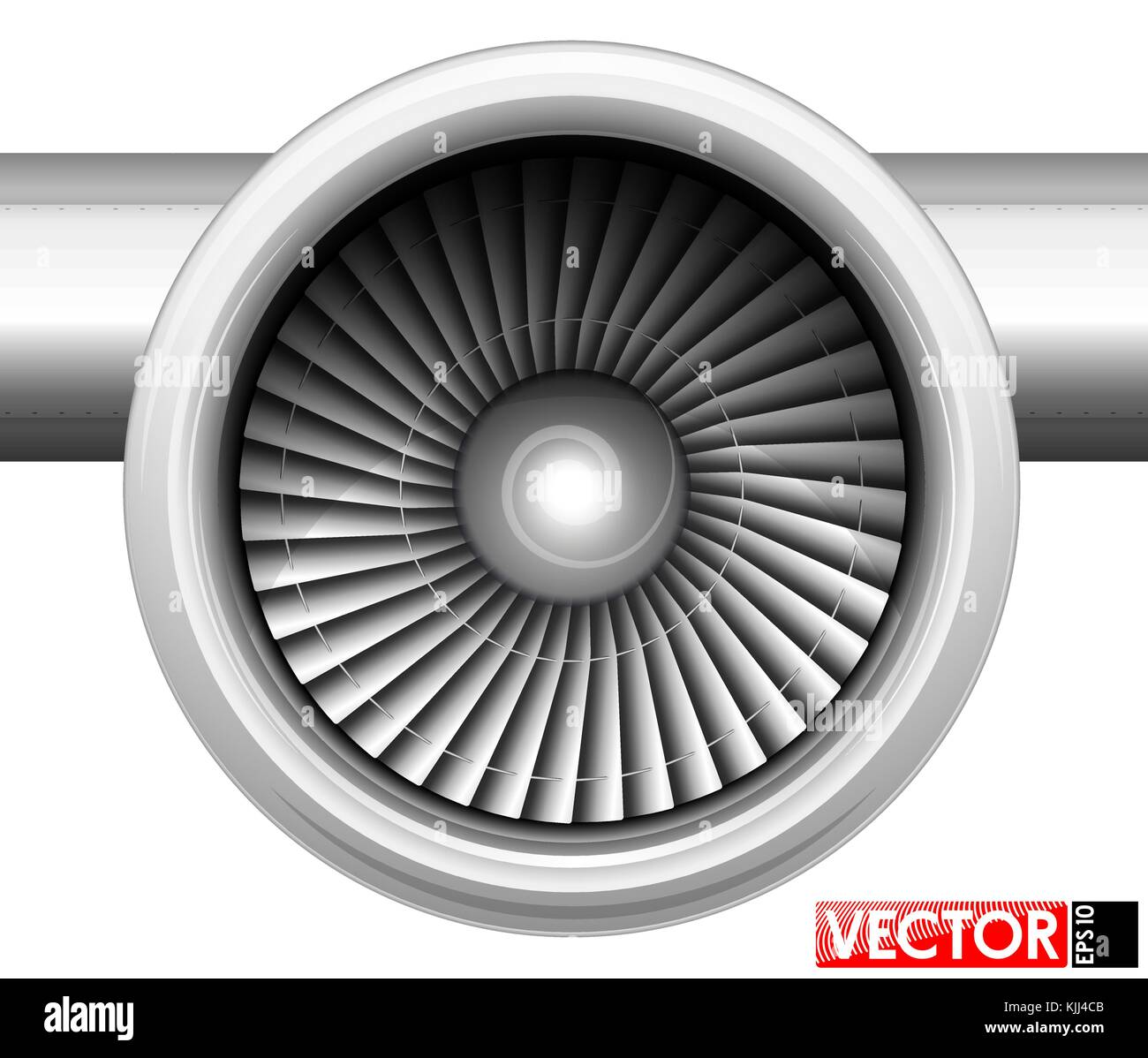 Turbines of an aircraft engine in a gondola  Front view of the Stock