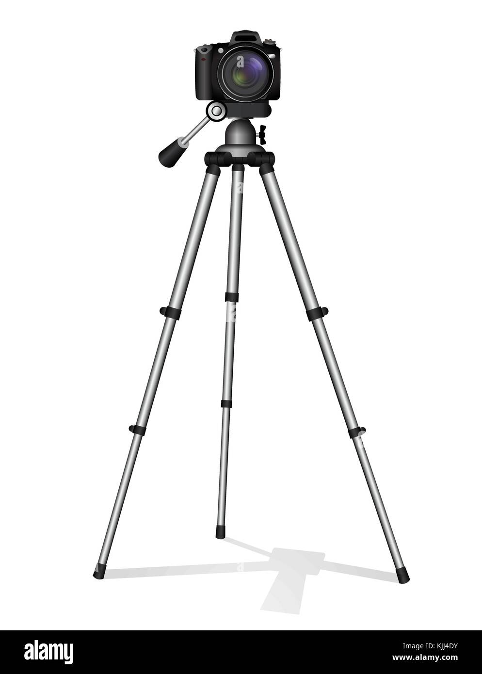 SLR camera on a tripod. Metal construction. Take a photo, movie or video. - Stock Vector