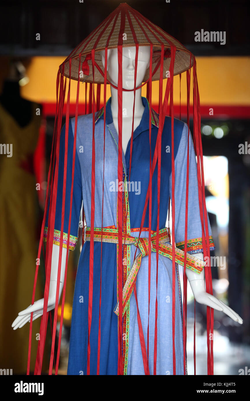 Tailor shop. Mannequin modelling dress.  Hoi An. Vietnam. - Stock Image