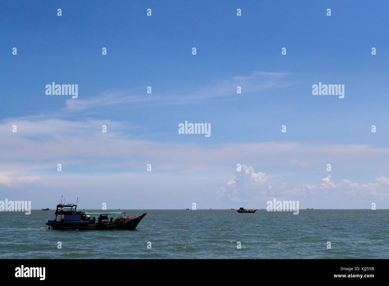 Vietnamese fisher boat on south China Sea.   Vietnam. - Stock Image