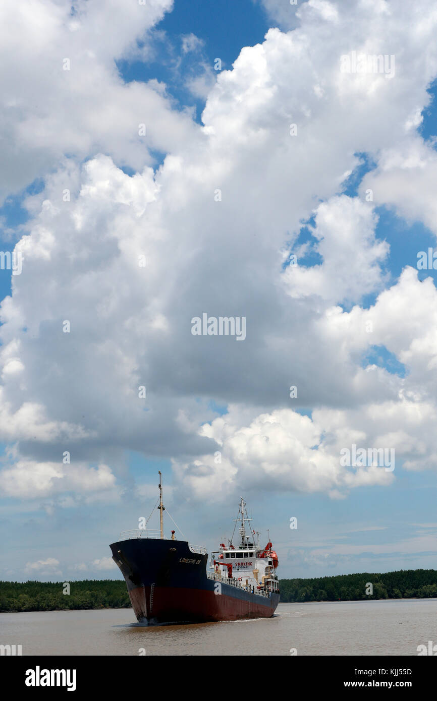 Cargo ship in South China Sea.  Vietnam. - Stock Image