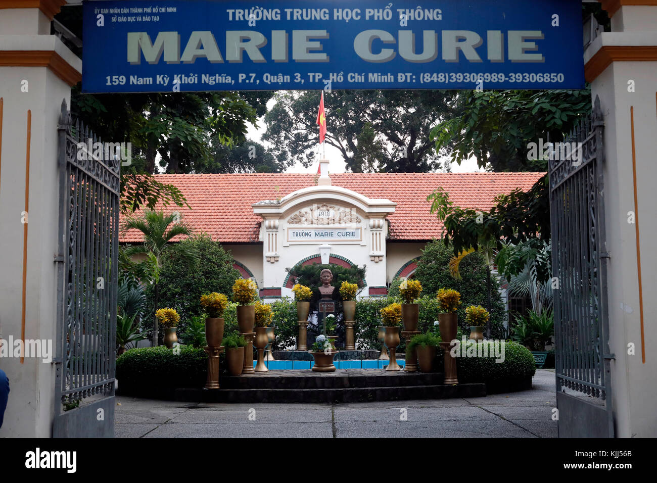 Marie Curie school.  French colonial architecture.  Ho Chi Minh City. Vietnam. Stock Photo
