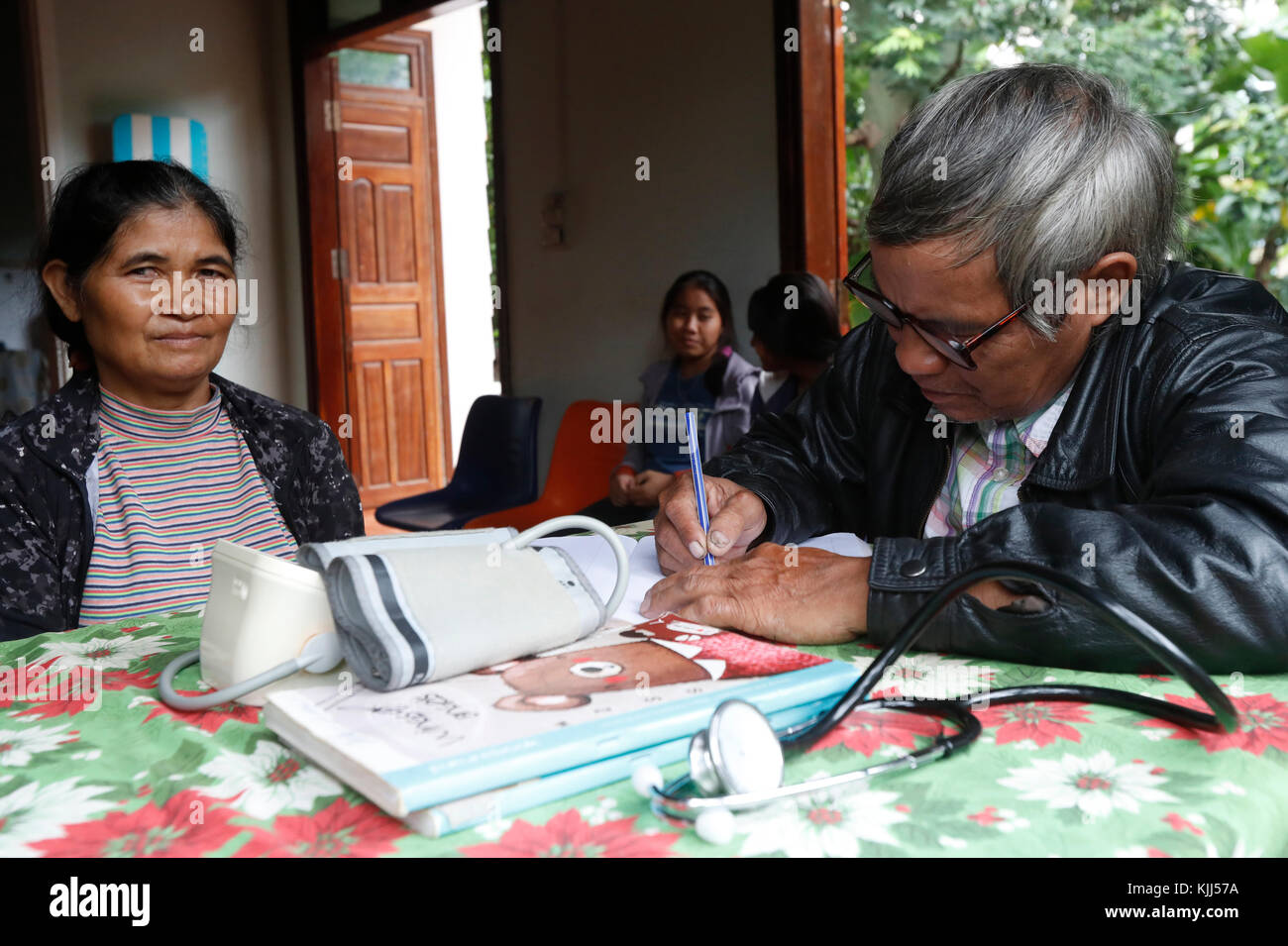 Free health clinic.  Medical consultation.   Kon Tum. Vietnam. - Stock Image