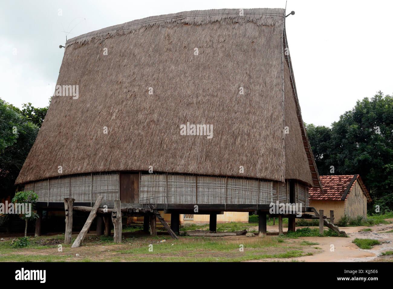 Bahnar ethnic minority people's communal Rong house. Kon Tum. Vietnam. - Stock Image