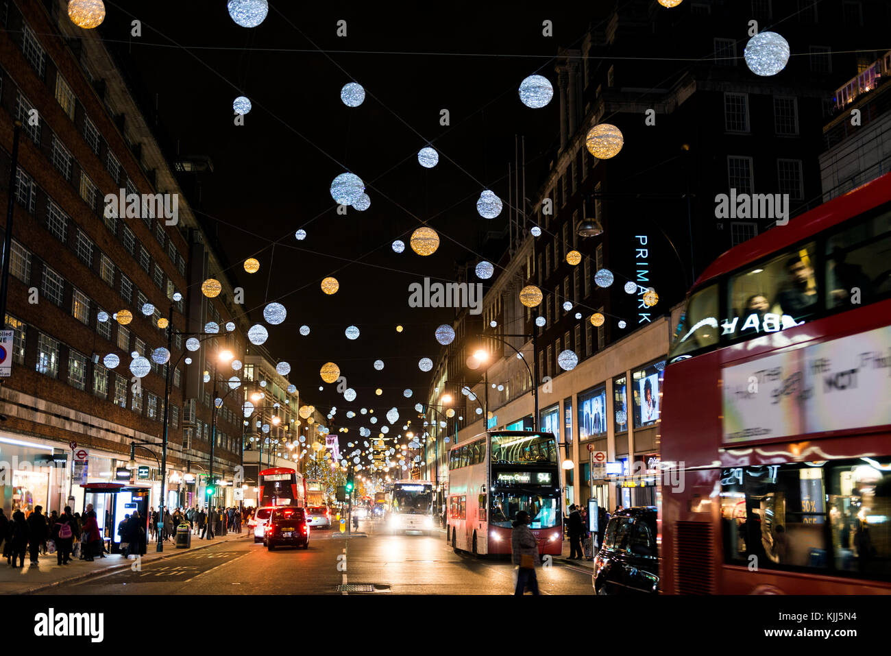 Christmas in Oxford Street and decorations - Stock Image