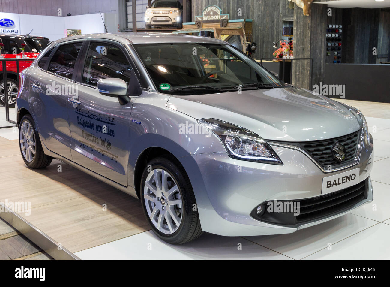 BRUSSELS - JAN 12, 2016: Suzuki Baleno compact car showcased at the Brussels Motor Show. - Stock Image
