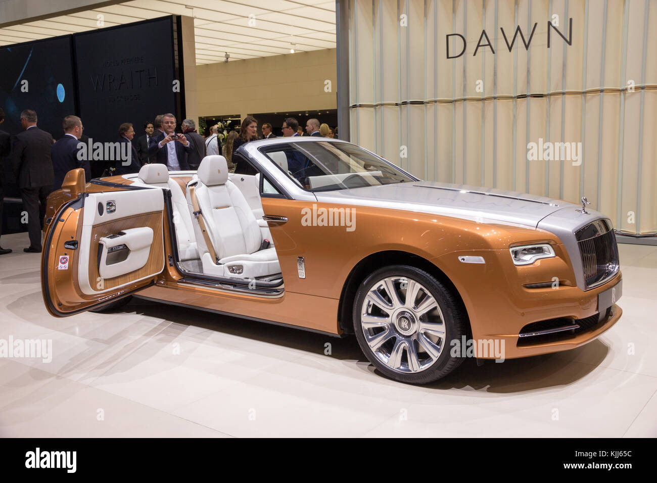 GENEVA, SWITZERLAND - MARCH 1, 2016: Rolls Royce Dawn luxury convertible car showcased at the 86th Geneva International - Stock Image