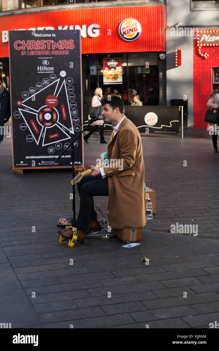 Street artist in Leicester Square, London - Stock Image