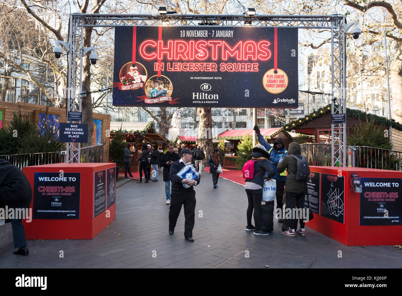 Leicester Square Christmas market, London - Stock Image
