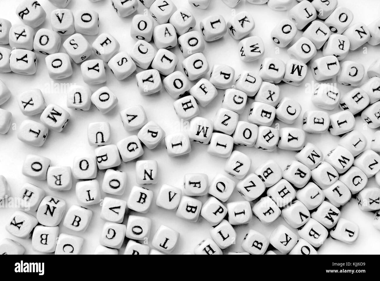 closeupof the white letters background - Stock Image