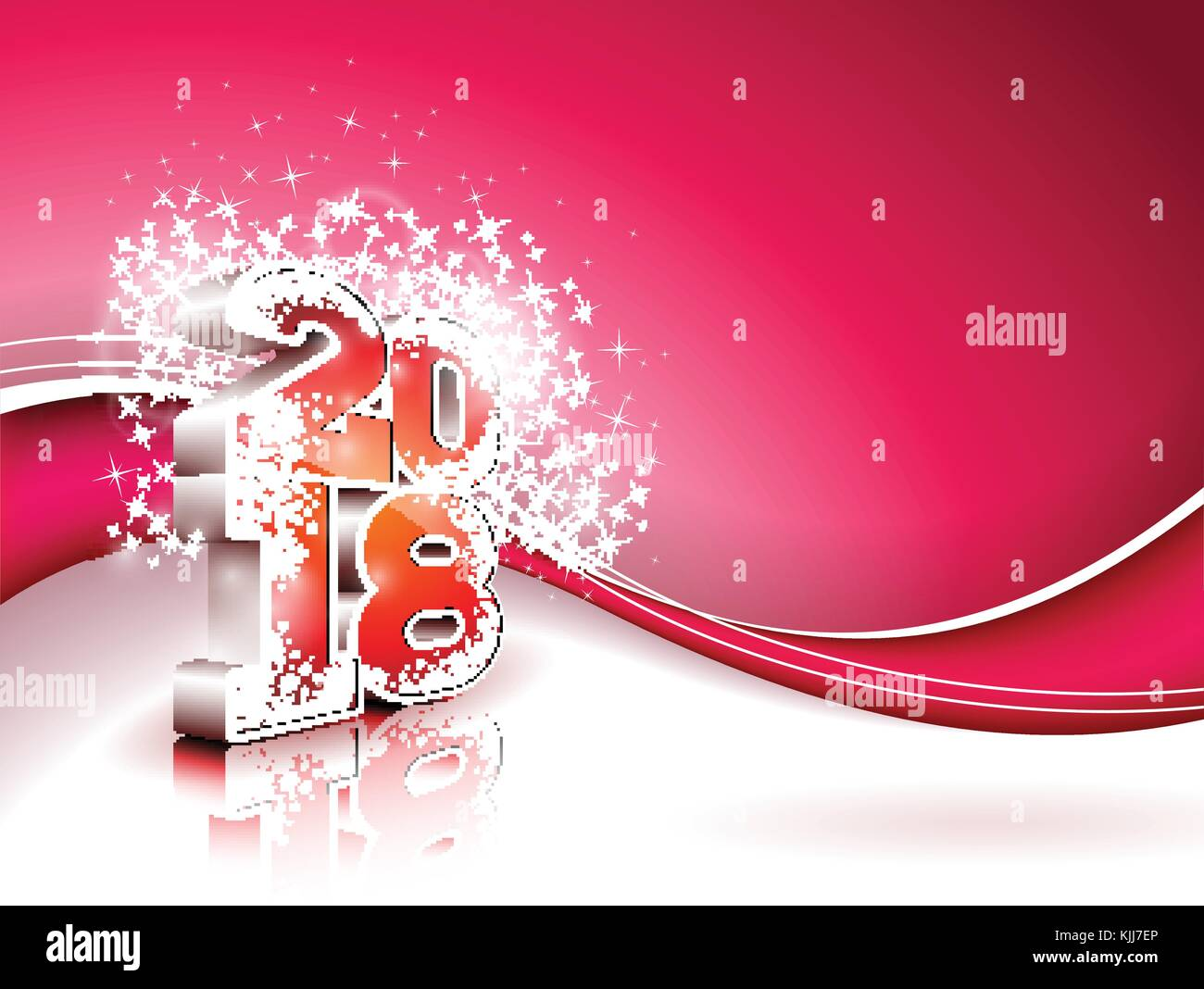 Vector Happy New Year 2018 Illustration on Shiny Red Background with 3d Number. Holiday Design for Premium Greeting Stock Vector