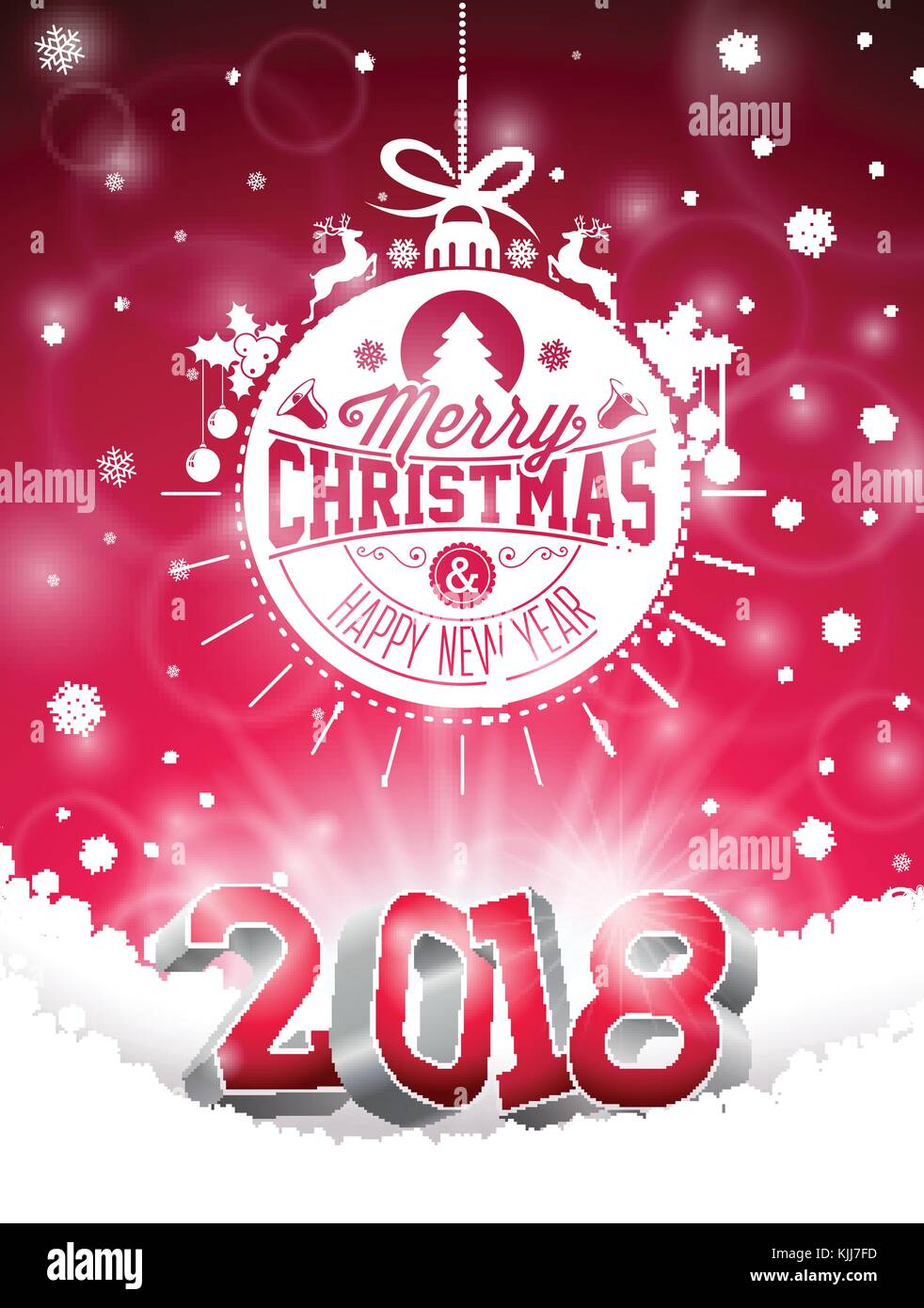 vector christmas and 2018 happy new year illustration on shiny red background with holiday typography element and 3d number holiday design for premium