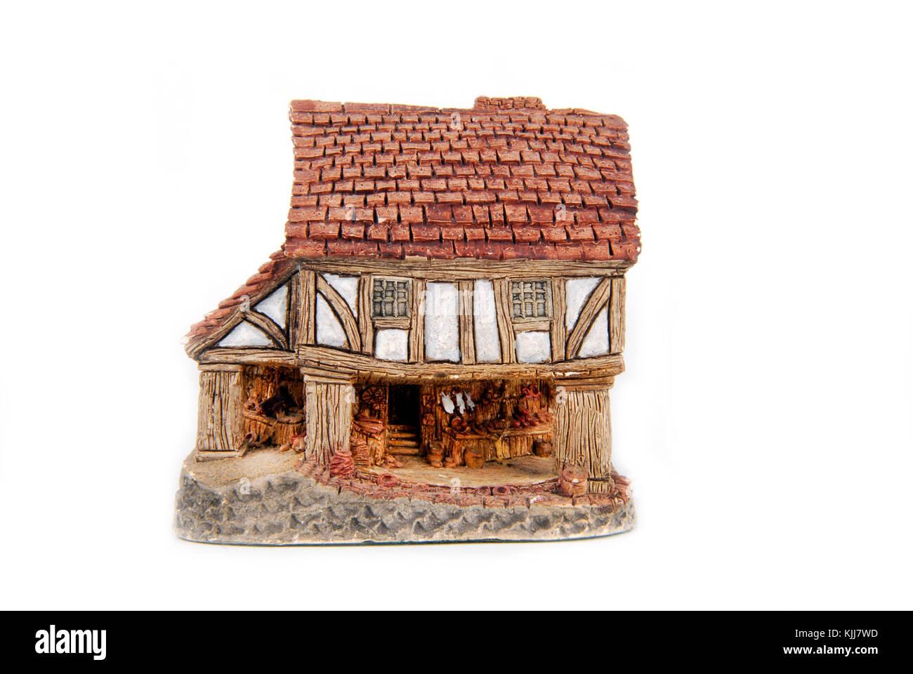 miniature house isolated on white - Stock Image