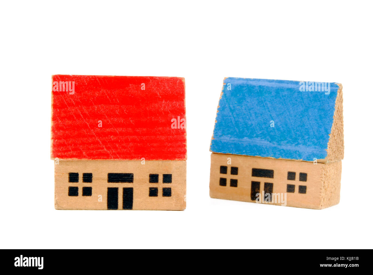 two miniature wooden houses - Stock Image