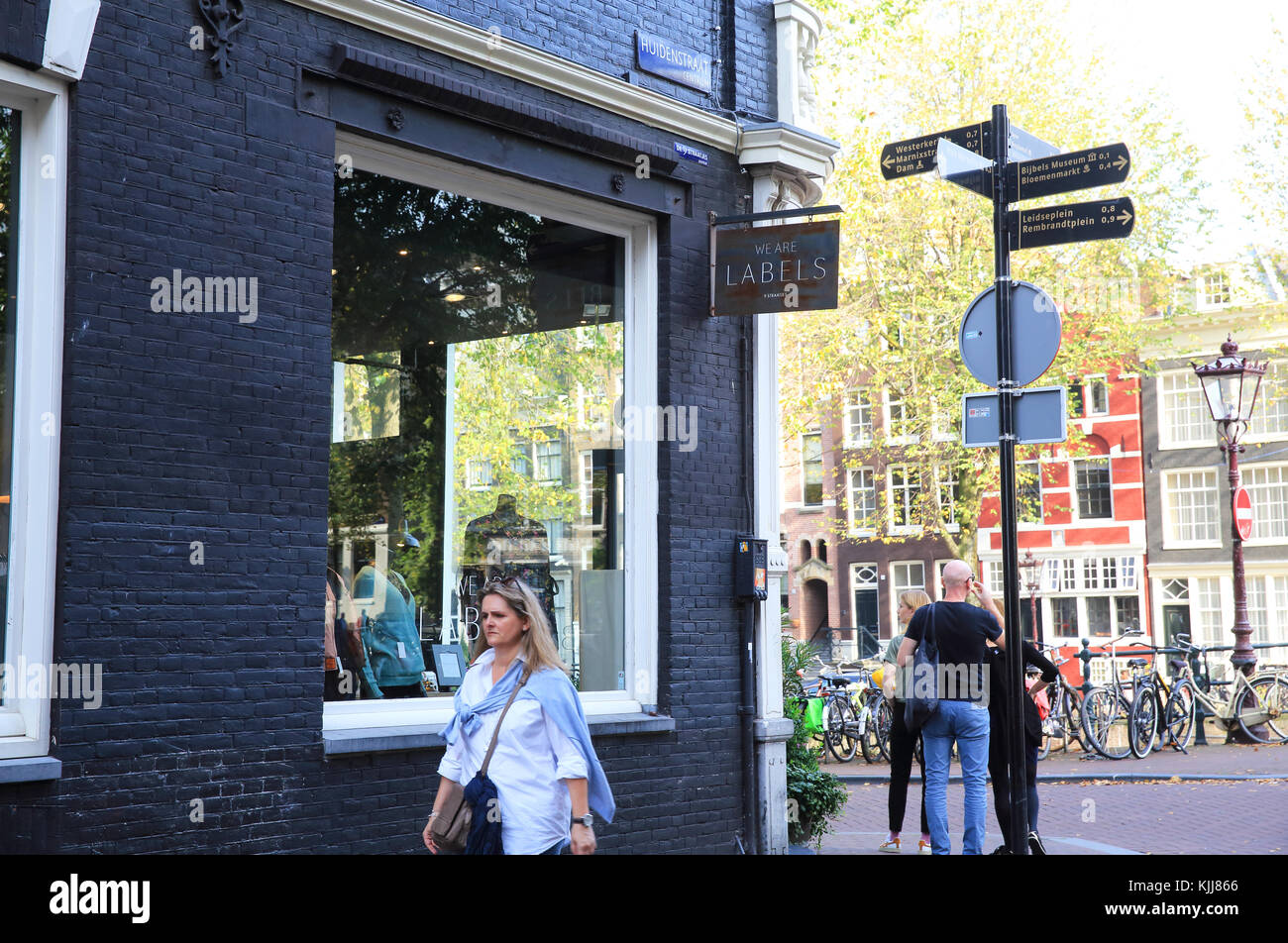 The chic boutiques on Huidenstraat, in the Nine Streets - De 9 Straatjes, in Amsterdam, in the Netherlands - Stock Image