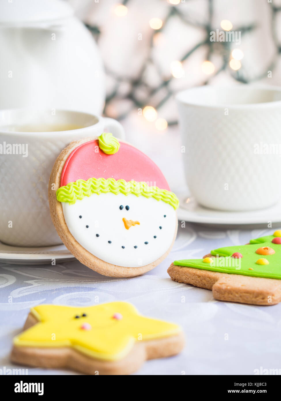 Decorated Christmas gingebread cookies. - Stock Image