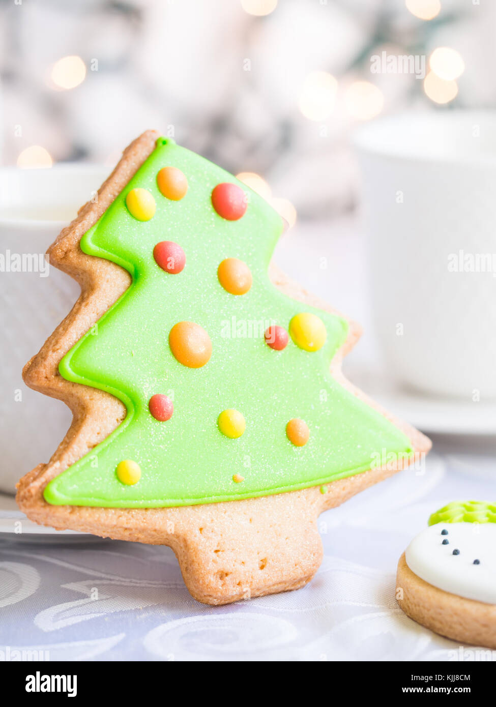 Decorated Christmas gingebread cookies. Stock Photo