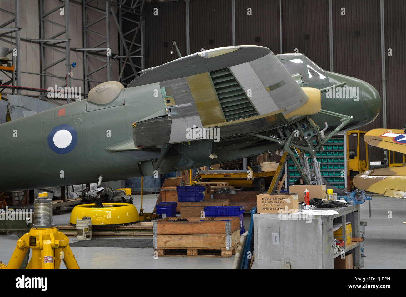 Bristol Beaufighter XIC in RAAF colours undergoing restoration, Duxford, UK. - Stock Image