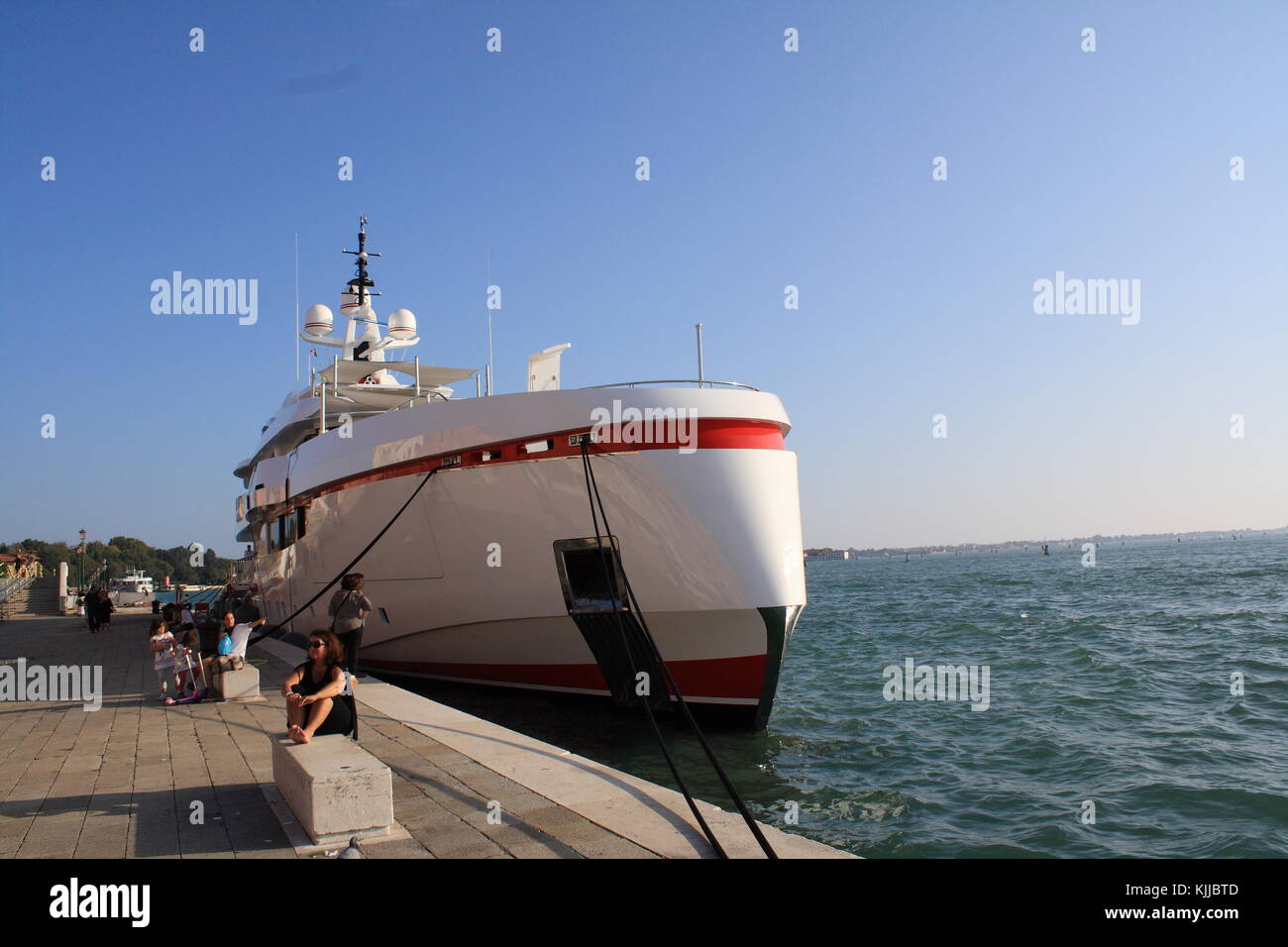 Forever One luxury boat by isa yachts, anchoring in Venice