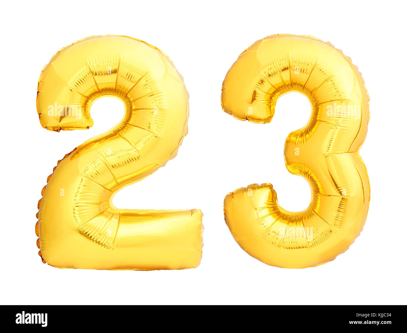 Golden number 23 twenty three made of inflatable balloon - Stock Image