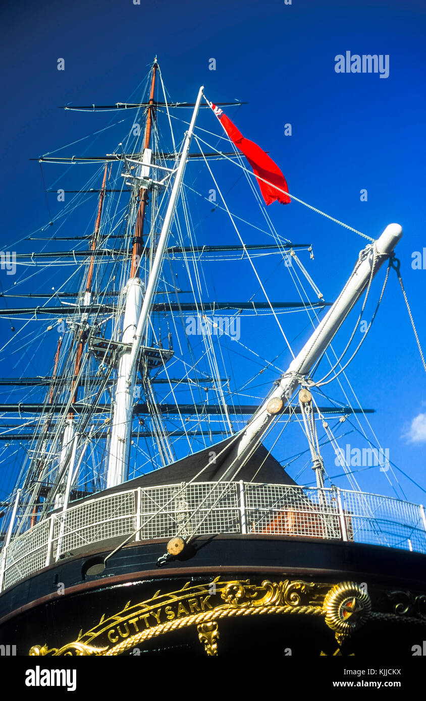 The Cutty Sark tea clipper built on River Clyde in Glasgow adn moored on display in Greenwich. - Stock Image