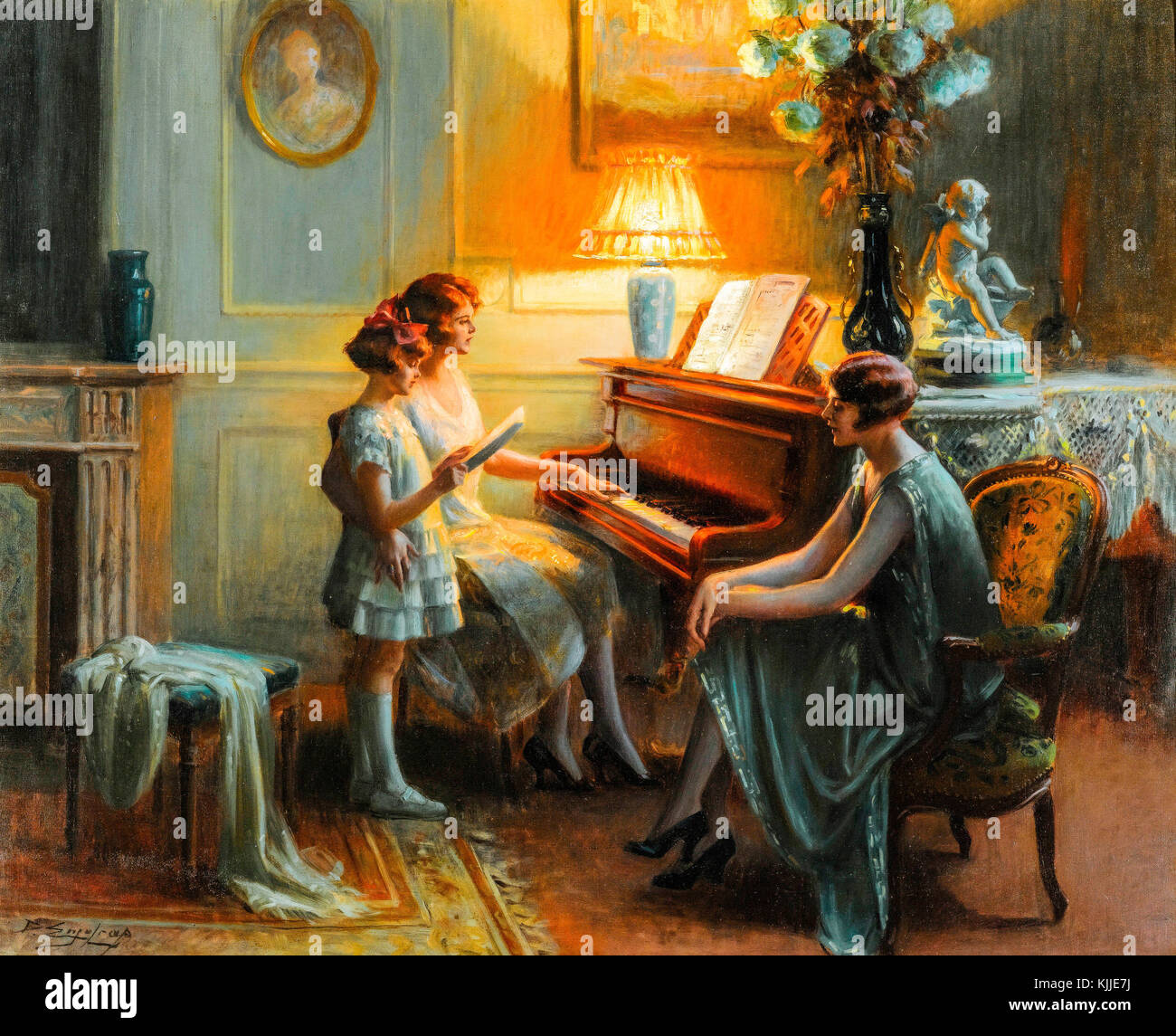 By the piano 1945. Delphin Enjolras.  In the room with a piano, a fireplace and a lighted lamp, two women are sitting - Stock Image