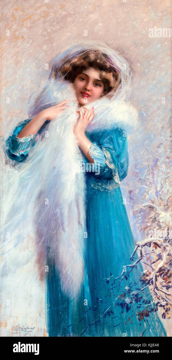 Winter Pastel 1857-1945, DELPHIN ENJOLRAS, Winter Pastel, signed lower left on the picture. is a young, beautiful - Stock Image