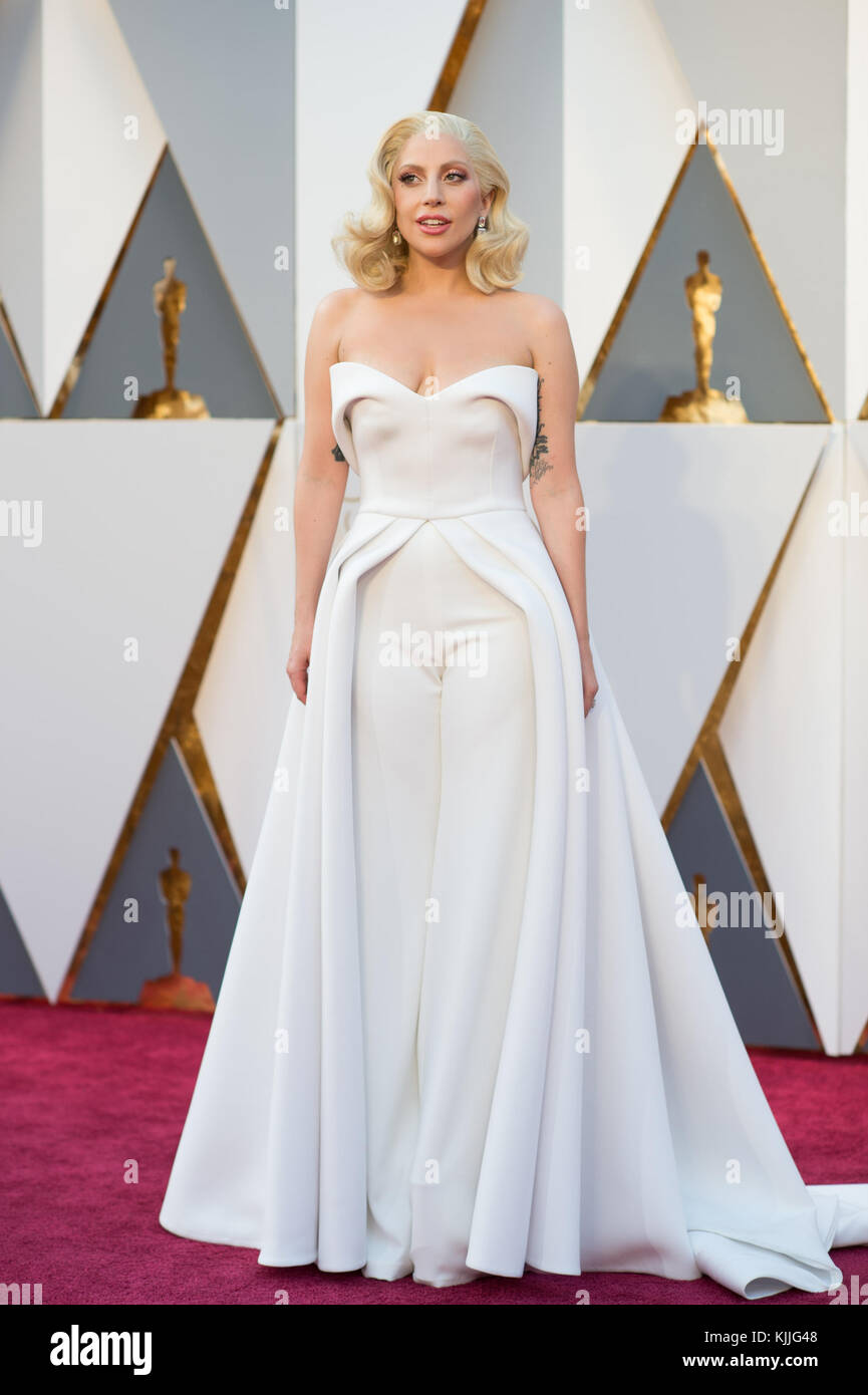 HOLLYWOOD, CA - FEBRUARY 28: Lady Gaga attends the 88th Annual Academy Awards at Hollywood & Highland Center on Stock Photo