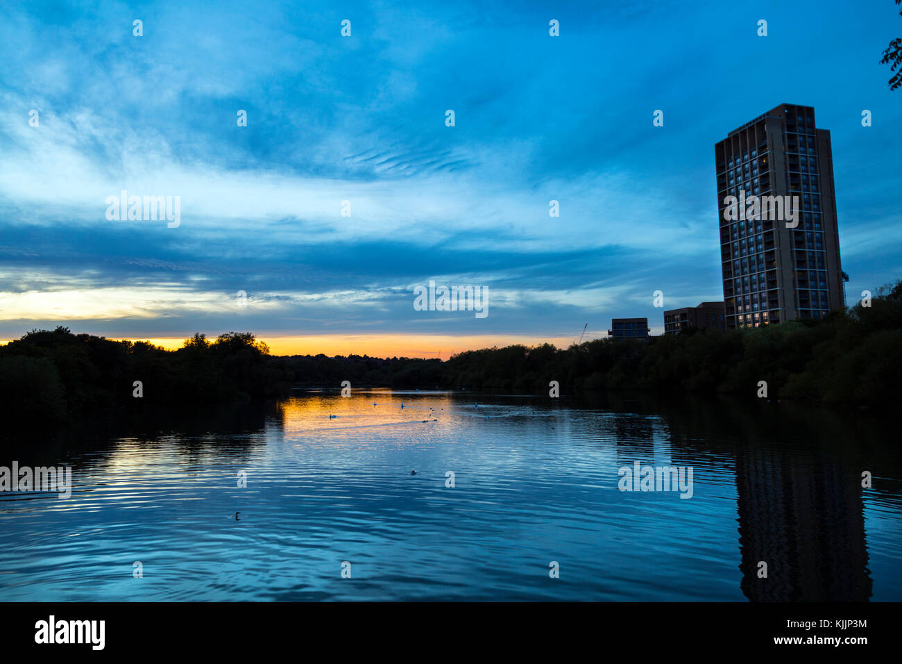 Tower Block (Hawfinch House) overlooking the Brent Reservoir, London, UK - Stock Image