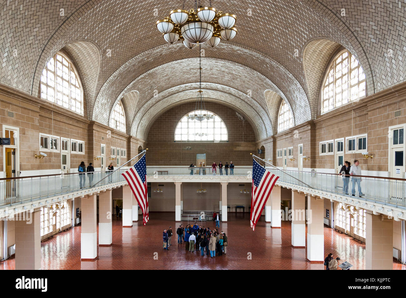 Ellis Island Main Hall With Its Barrel Vaulted Ceiling