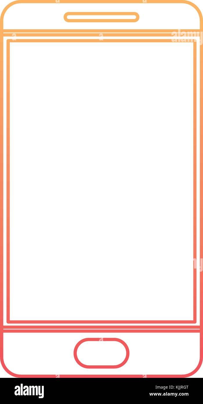 smartphone icon in degraded orange to magenta color contour - Stock Image