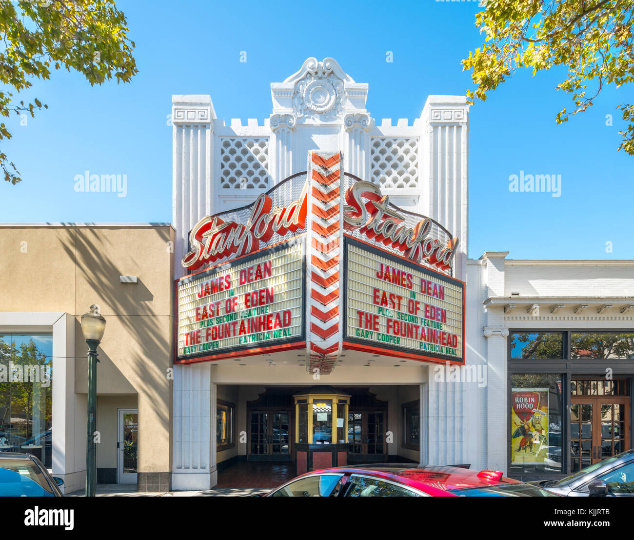 Restored 1925 Palo Alto Stanford Movie Theater showing East of Eden with James Dean and The Fountainhead by Ayn - Stock Image
