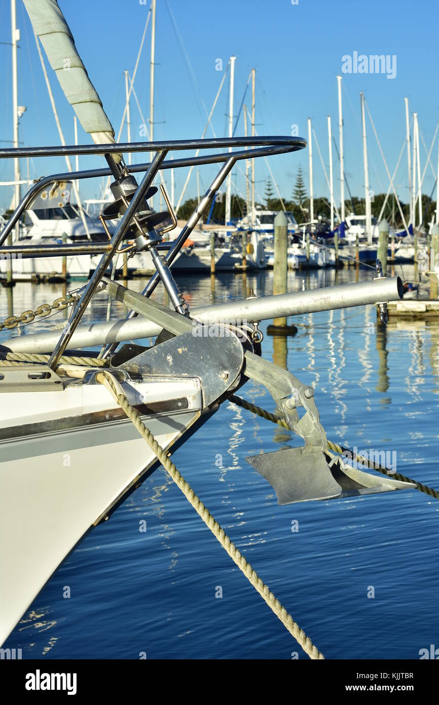 Sailing Ship Bow With Stainless Steel Railing And Anchor