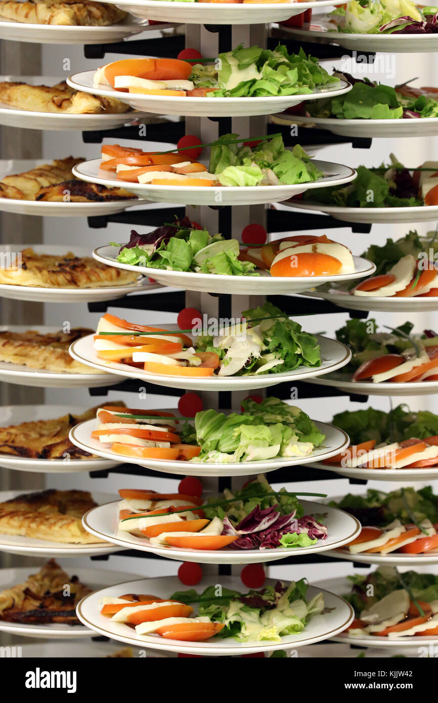 Canteen. Plates.  Salad.  France. - Stock Image