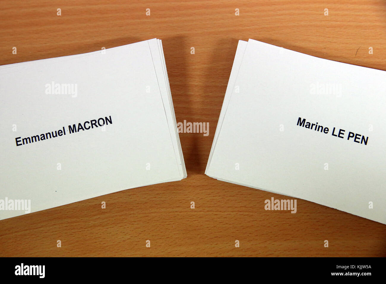 2017 French presidential election. Polling Booth. Marine Le Pen VS Emamnuel Macron.  France. - Stock Image