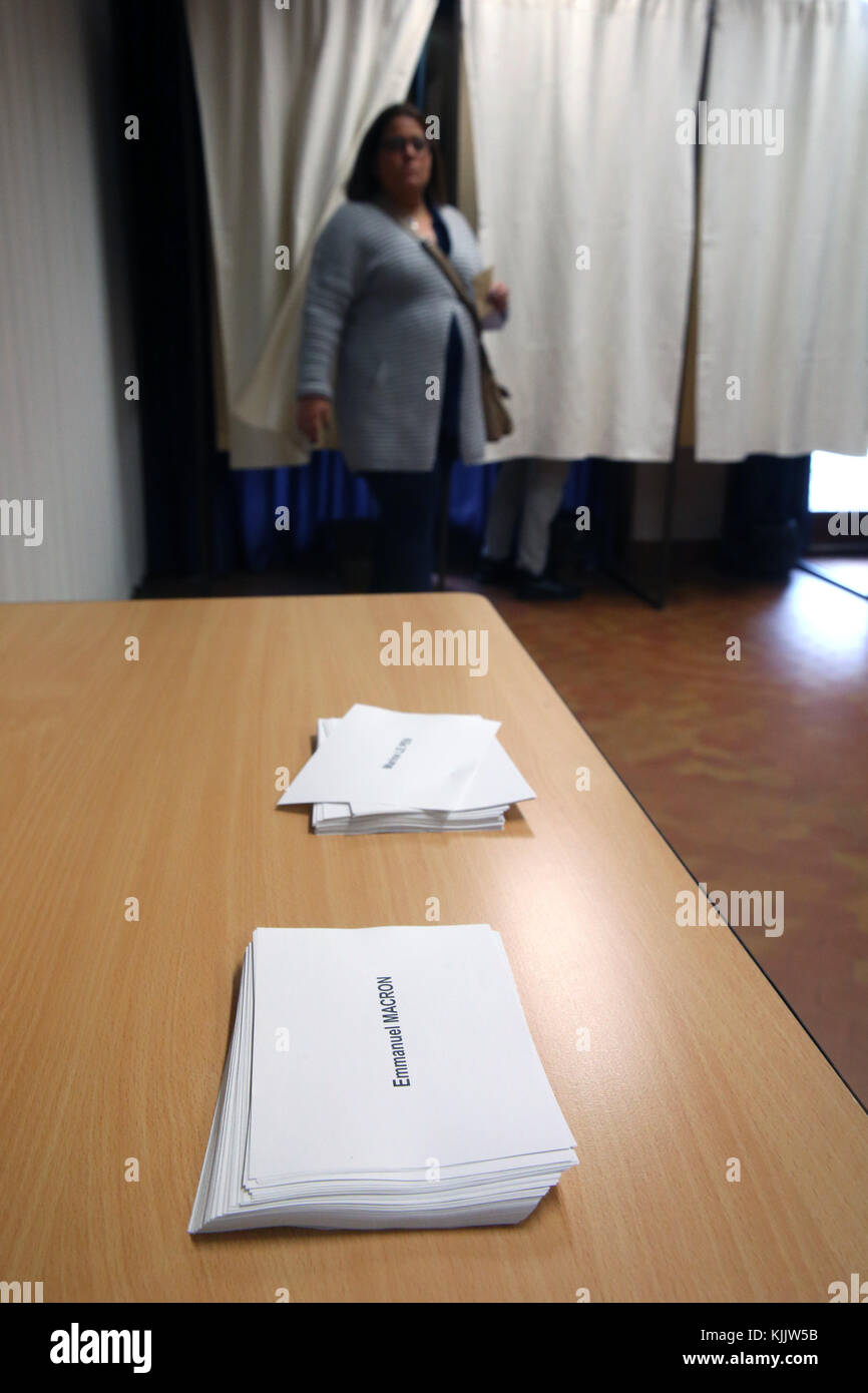 2017 French presidential election. Polling Booth. Marine Le Pen VS Emamnuel Macron.  France. Stock Photo