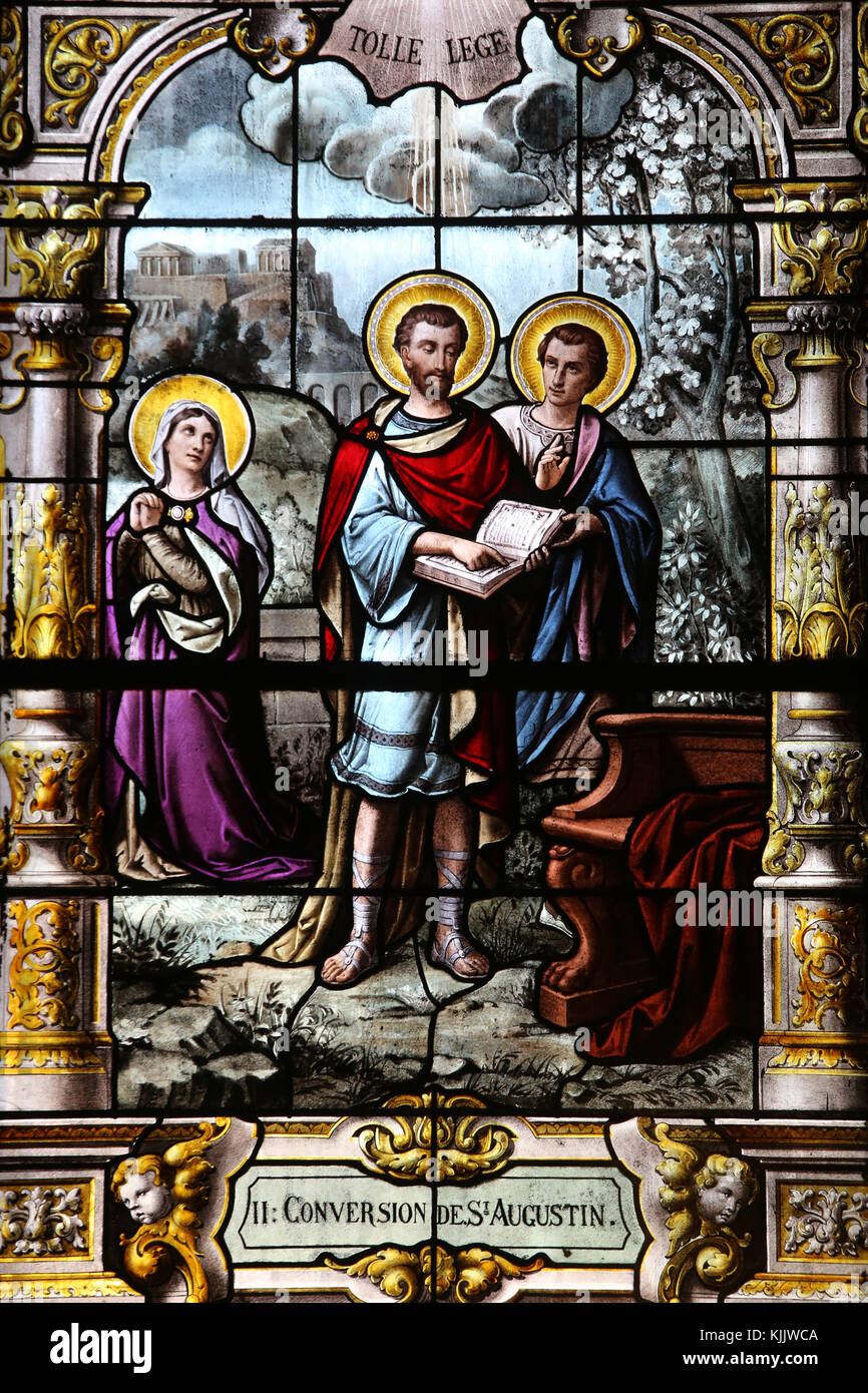 Saint Augustin's church, Deauville, France. Stained glass. St Augustin's conversion. - Stock Image