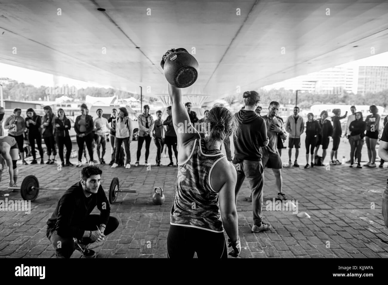 CrossFit session.  Paris. France. - Stock Image